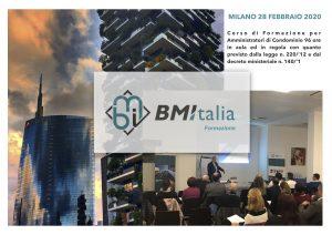 Corso di Formazione per Amministratori di Condominio MILANO 28 FEBBRAIO 2020